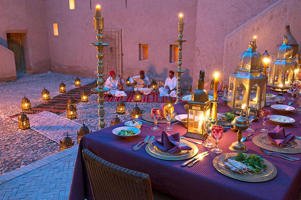 Dining at Dar Ahlam in Skoura, Morocco