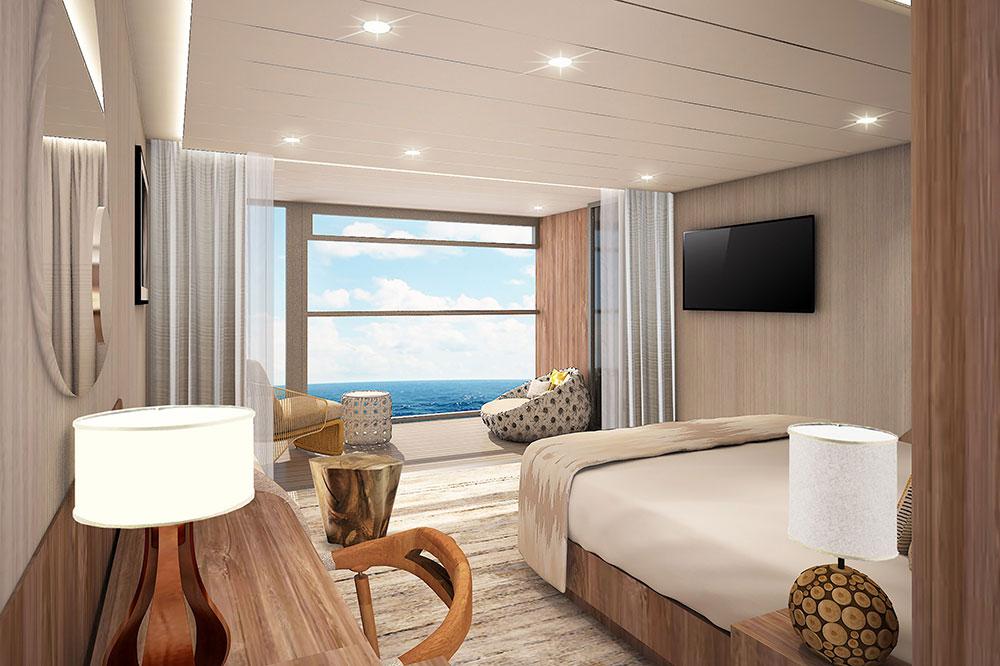 A rendering of the Sky Suite with infinite veranda on the <em>Celebrity Flora</em>