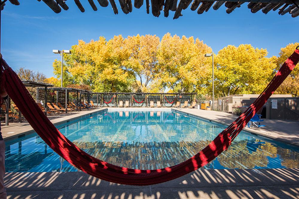 Hammocks by the pool at Sunrise Springs Spa Resort in Santa Fe