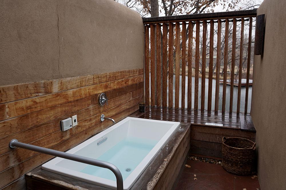 Our private <em>onsen</em> tub at Sunrise Springs Spa Resort