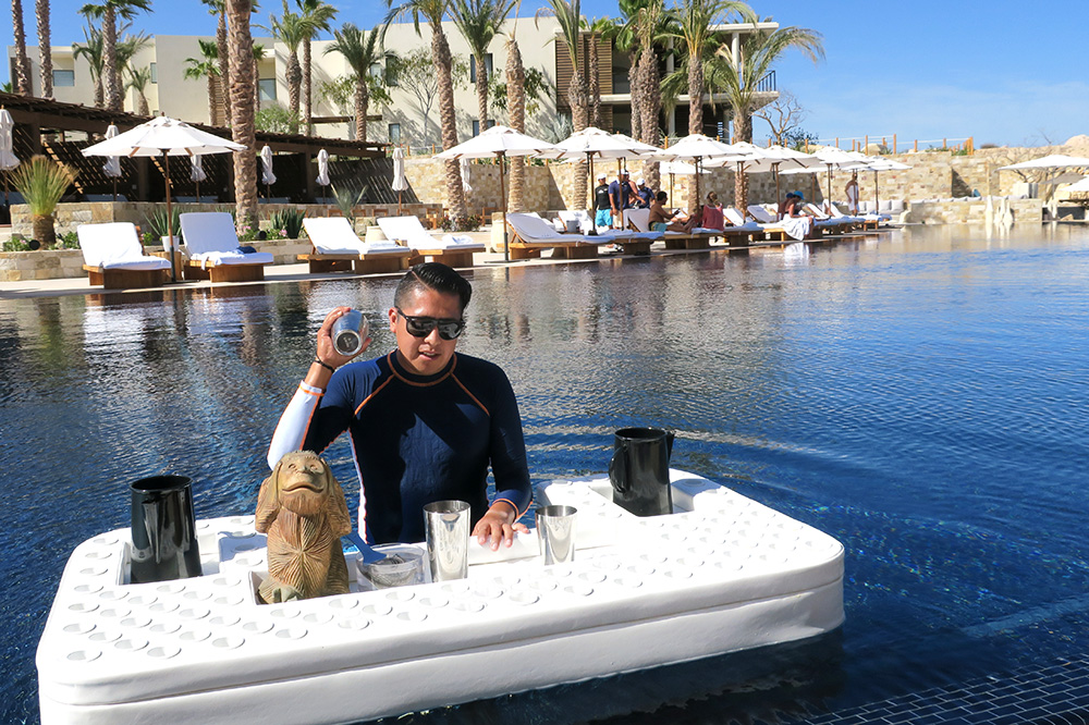 A swim-up bartender in the pool at Chileno Bay Resort in Cabo San Lucas, Mexico