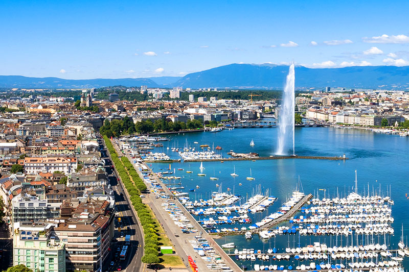View of Geneva and the 450-foot Jet d'Eau fountain