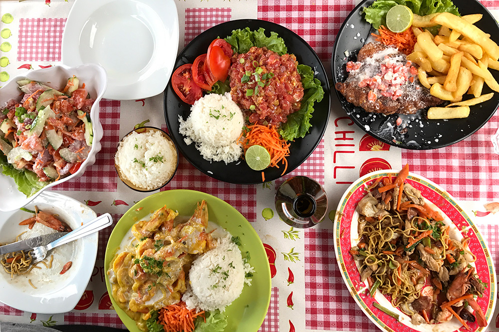 Various dishes from <em>Snack Mahana</em> in Moorea
