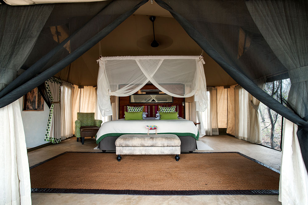 The interior of a semi-tented villa at Azura Selous in the Selous Game Reserve