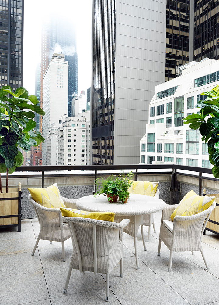 The terrace of a room at The Whitby Hotel in New York City