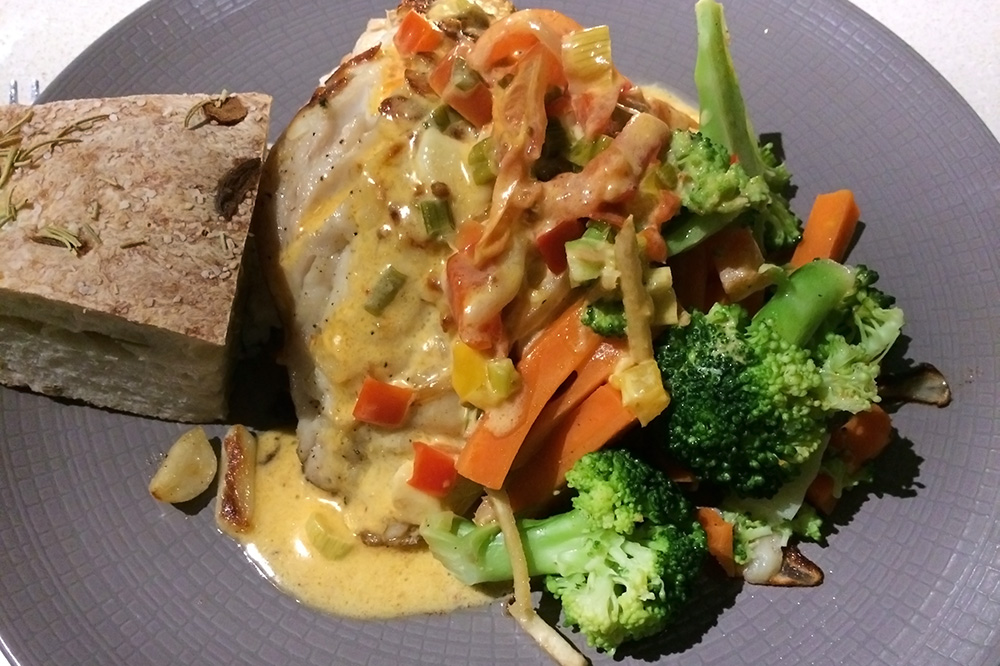 The Thai snapper topped with curry and vegetables from <em>Seven Fish</em>