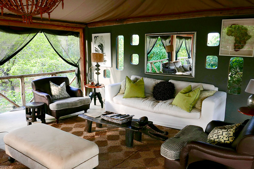 The interior of the lodge's common area at Azura Selous in the Selous Game Reserve