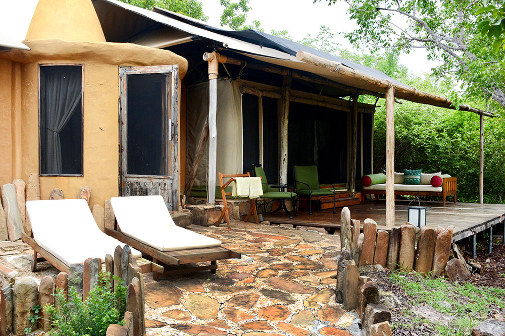 The exterior of our semi-tented villa at Azura Selous in the Selous Game Reserve