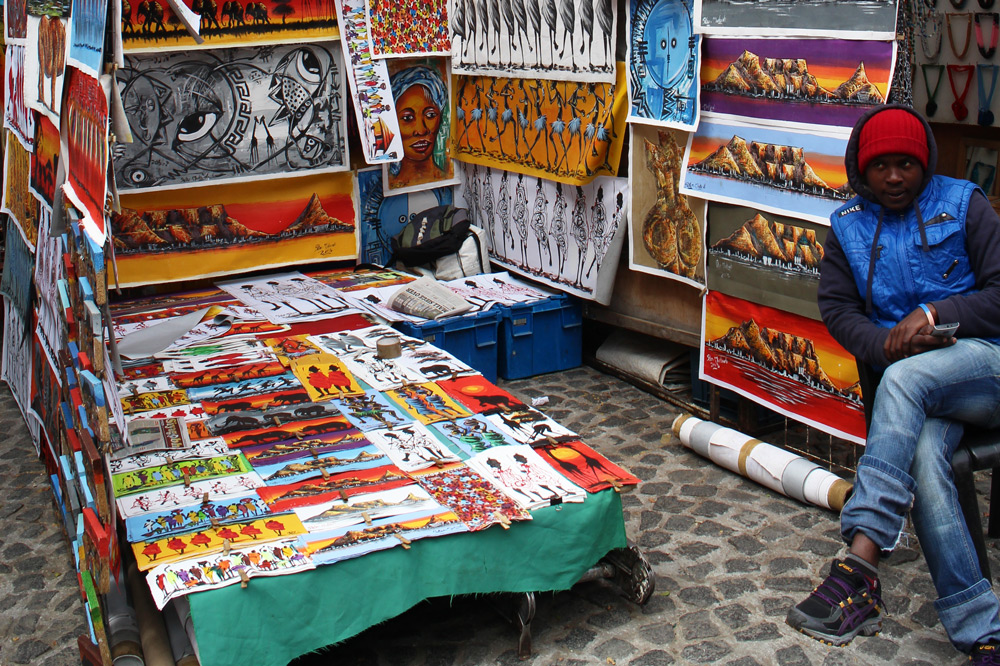An array of African art and crafts at Greenmarket Square in Cape Town, South Africa