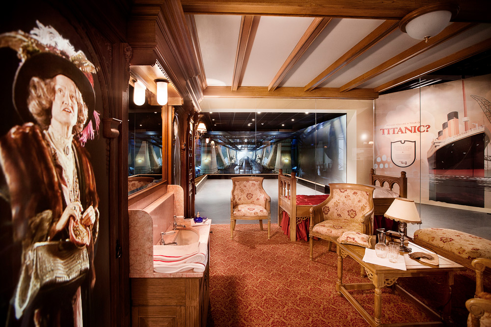 """A stateroom featured as part of the """"Titanic Experience"""" at the Titanic Belfast Museum"""