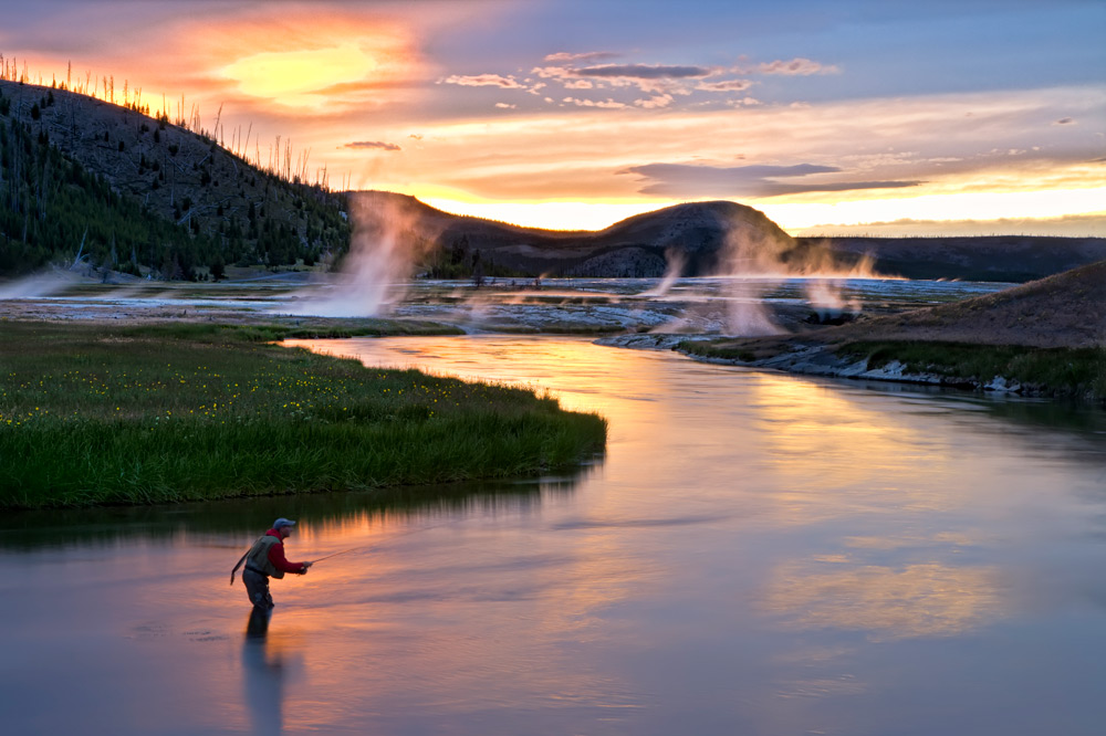 Fly-fishing on the Yellowstone River at Firehole Ranch