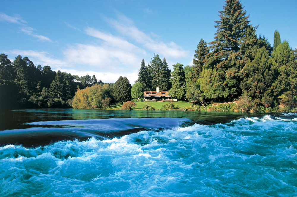 The Waikato River as it runs past Huka Lodge