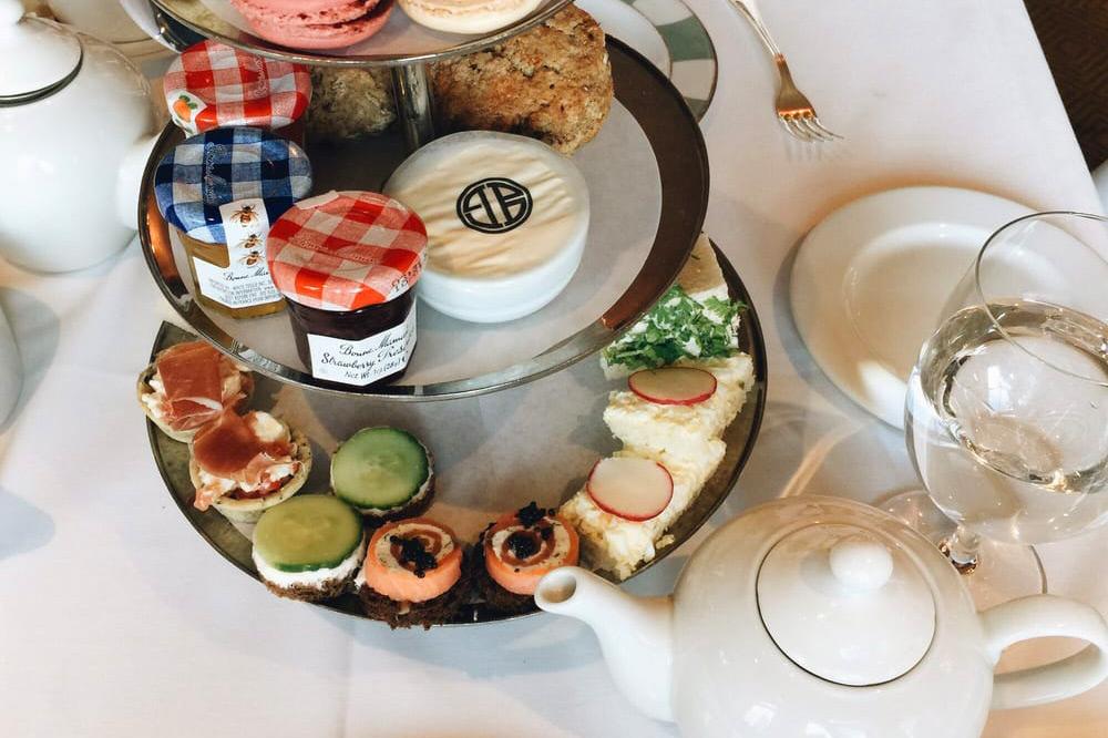 Tea tower at <em>BG Restaurant</em> in Bergdorf Goodman