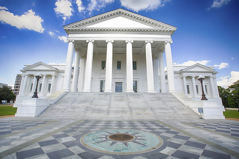 The Virginia State Capital in Richmond, Virginia.