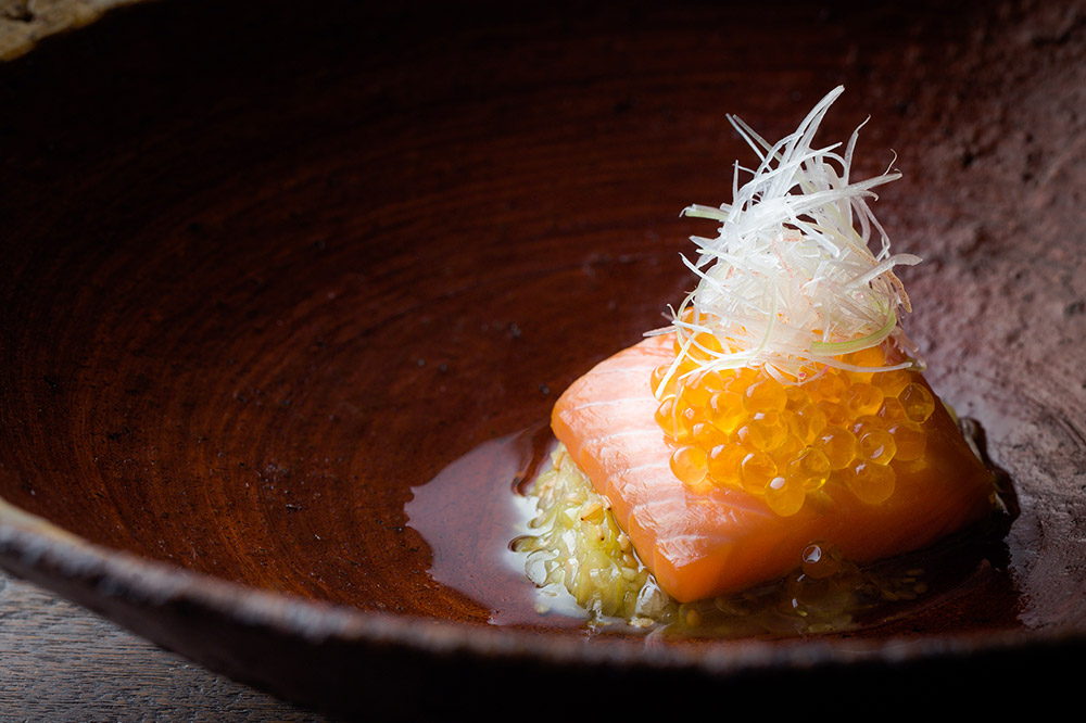 Cherrywood-smoked Mount Lassen trout with shio koji vinaigrette, trout roe and myoga ginger