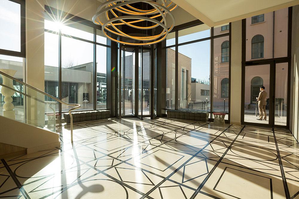 The lobby of Villa Maïa