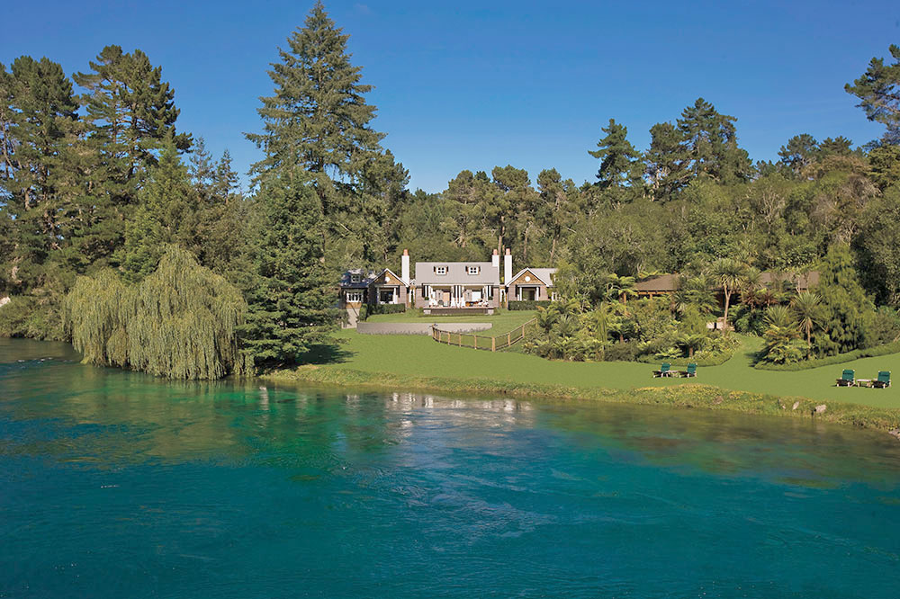 Huka Lodge on the Waikato River in Taupo, New Zealand