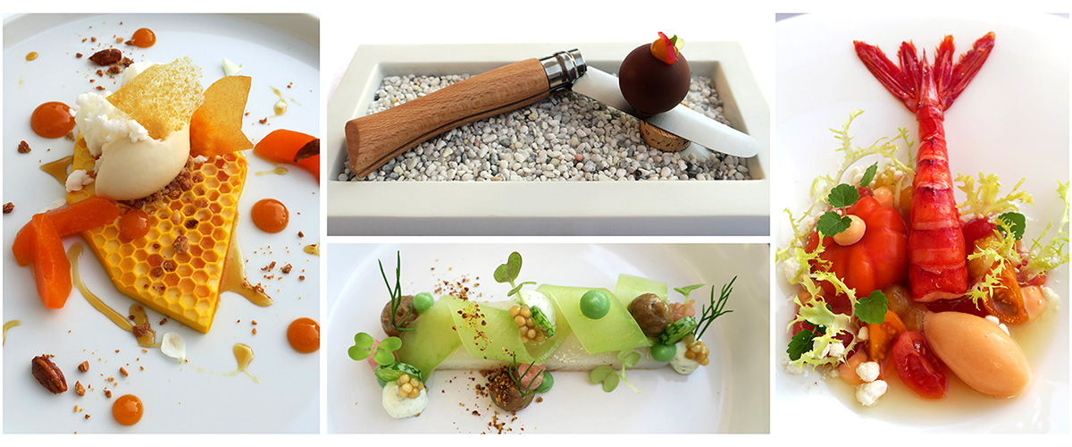Various dishes from Courtier, the restaurant at Weissenhaus Grand Villa Resort in Germany - Photo by Andrew Harper