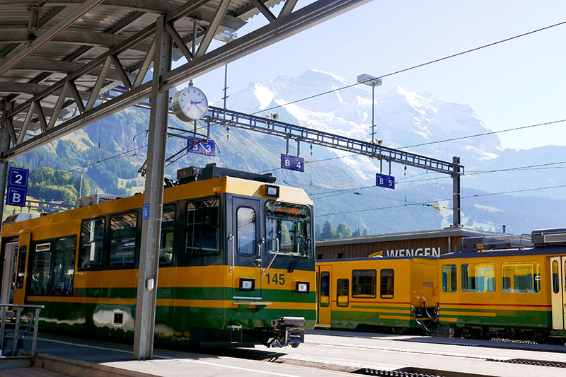 Cogwheel trains at Wengen - Photo by Andrew Harper