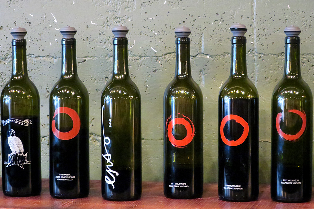 Various bottles of wine from ENSO in Portland, Oregon