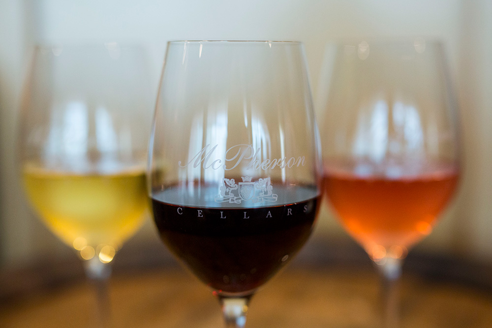 Glasses of various types of wines from McPherson Cellars in Lubbock, Texas - McPherson Cellars