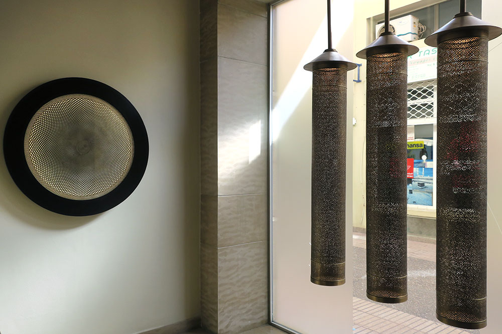 Products at Yahya Creation, which puts a modern spin on brass lamps and sconces