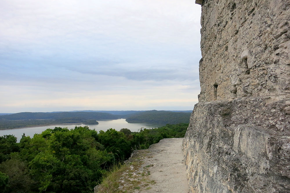 View of Lake Yaxha from Structure 216, the tallest pyramid at the Mayan Yaxha site in Guatemala