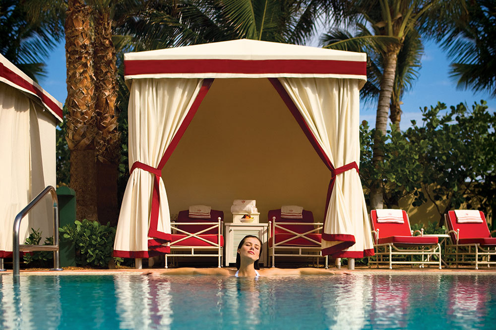 A Poolside Cabana at Acqualina Resort & Spa in Miami, Florida