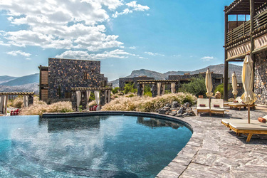 View of the Al Hajar Mountains from the pool at the Alila Jabal Akhdar