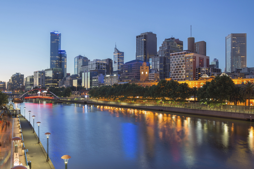 View of Melbourne from Yarra river at night