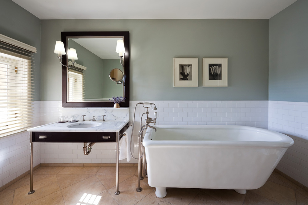 The bath of a junior suite at Wheatleigh in Lenox, Massachusetts
