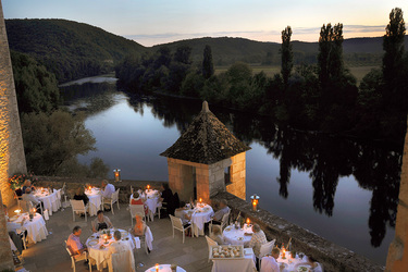 Terrace restaurant at Château de la Treyne in Lacave, France