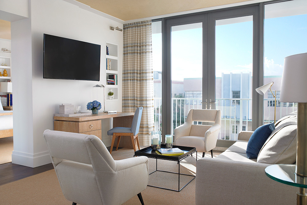 The Living Room Of Corner Double Balcony Suite At Betsy In South Beach