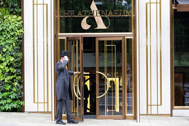 The entrance of The Athenaeum Hotel & Residences in London, England