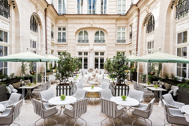 The courtyard at Hôtel de Crillon in Paris, France