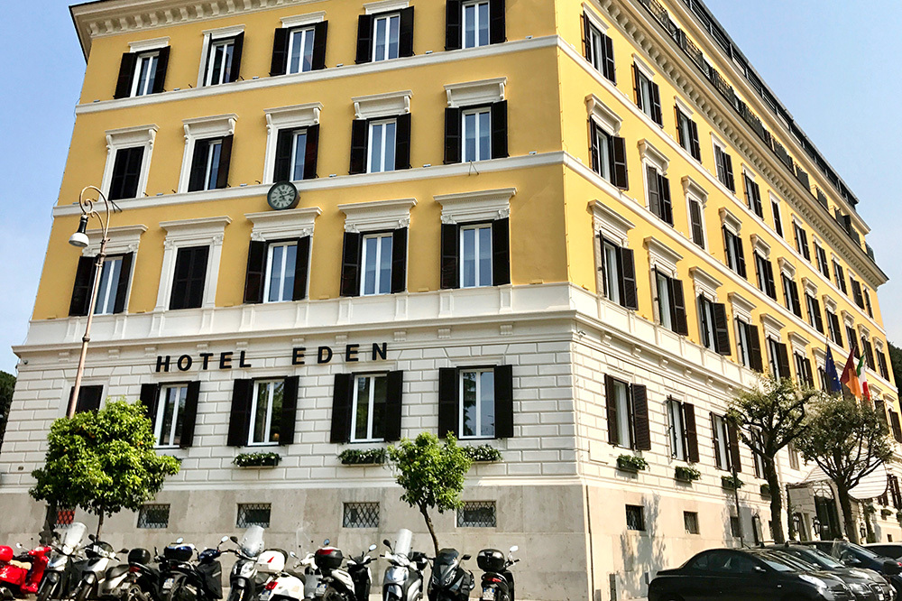 The exterior of Hotel Eden in Rome, Italy