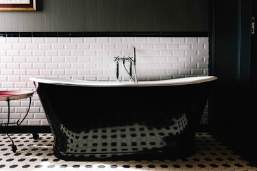 Tub in bath at Valverde Hotel, Lisbon, Portugal