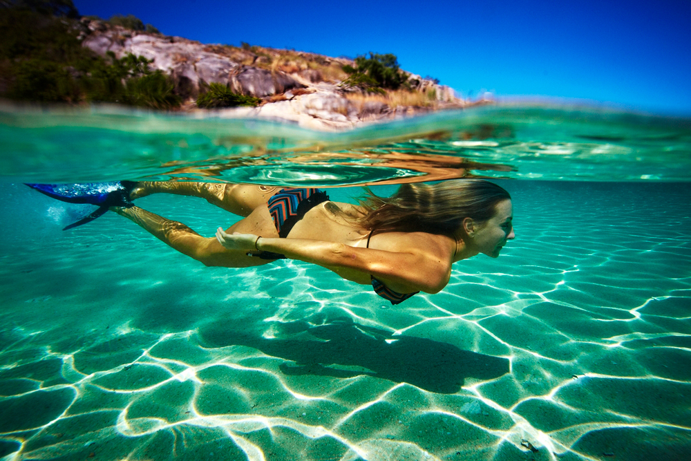 Swim in crystal clear water over barrier reefs
