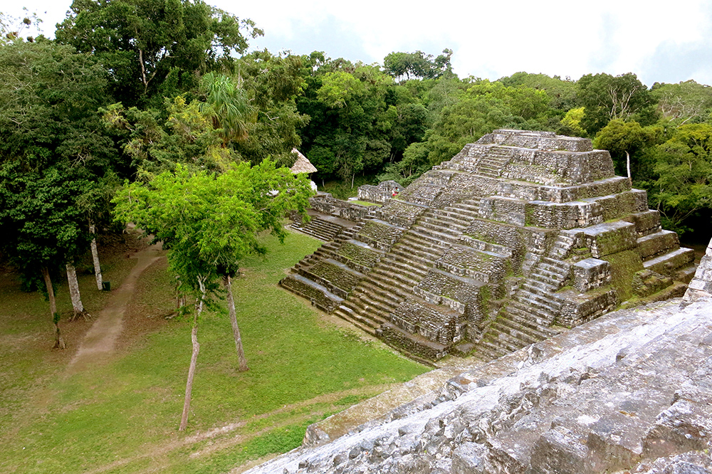 View from the top of a pyramid in Yaxha's north acropolis