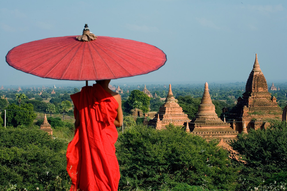 A monk and temples in Bagan