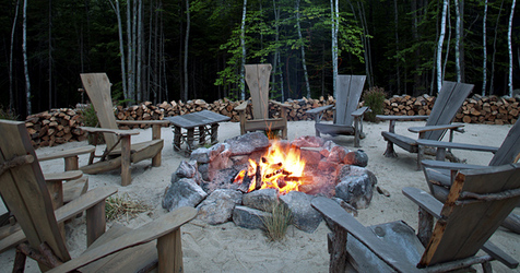 Fire pit at Hidden Pond Maine