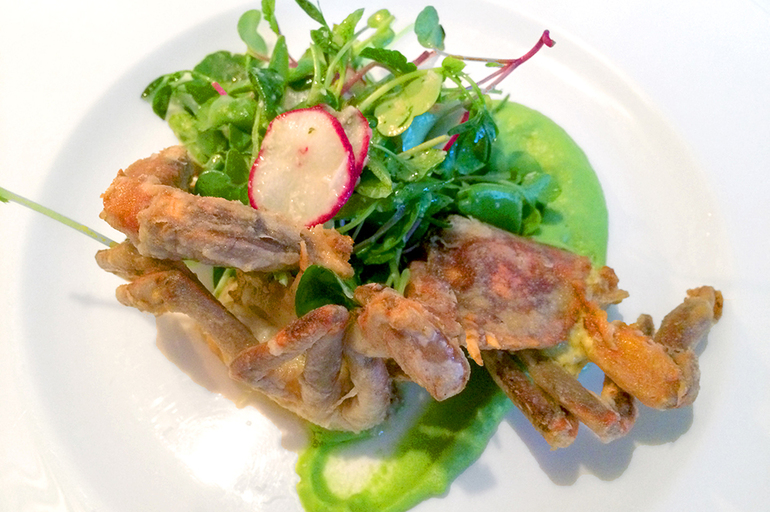 Soft-shell crab with lemon brown butter, pea purée and a radish sprout salad at <em>275 Main</em>