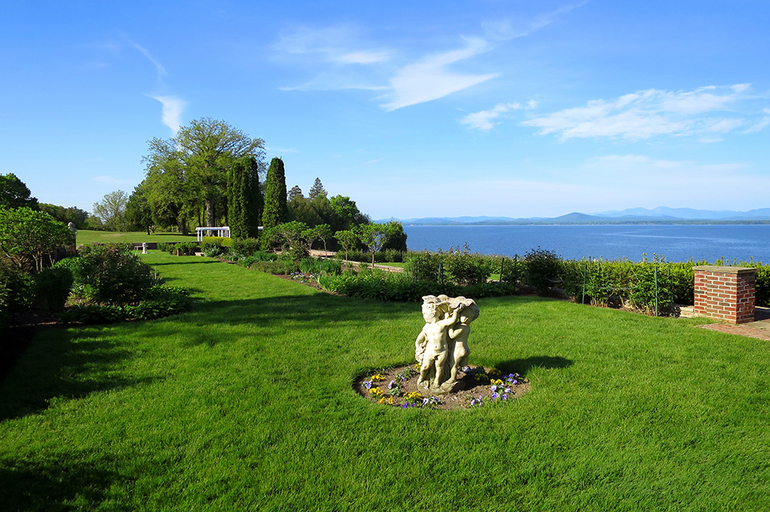 Garden overlooking Lake Champlain at The Inn at Shelburne Farms