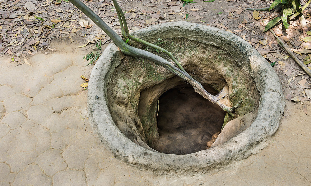 Entrance to a tunnel at Cu Chi, Vietnam