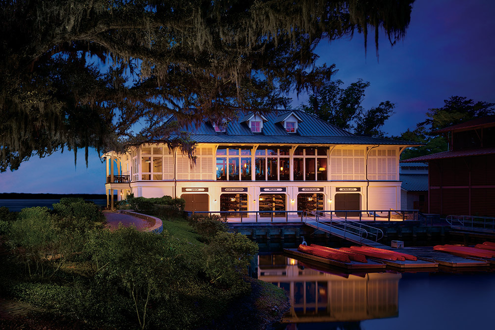 The Canoe Club at night at The Montage Palmetto Bluff, Bluffton, South Carolina
