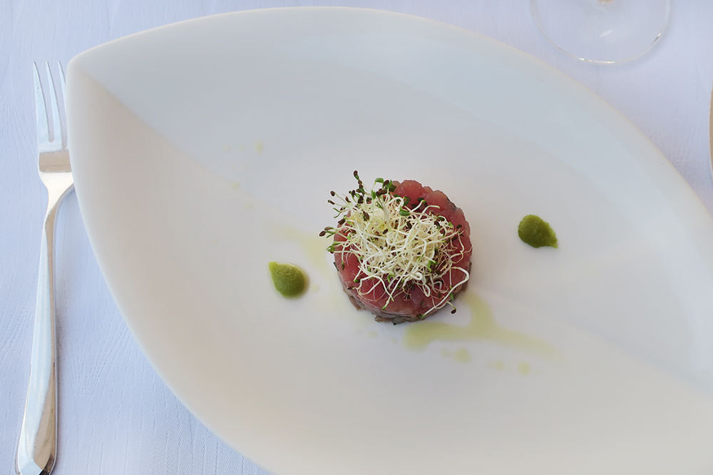 Tuna tartar with garlic sprouts and wasabi from Nautika Restaurant in Dubrovnik, Croatia