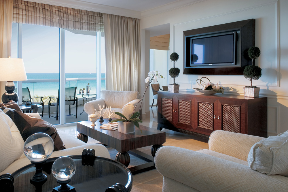 The Oceanfront Livingroom at Acqualina and Spa in Miami, Florida
