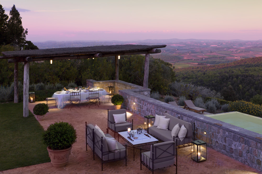Outdoor Dining at Rosewood Castiglion Del Bosco in Tuscany, Italy
