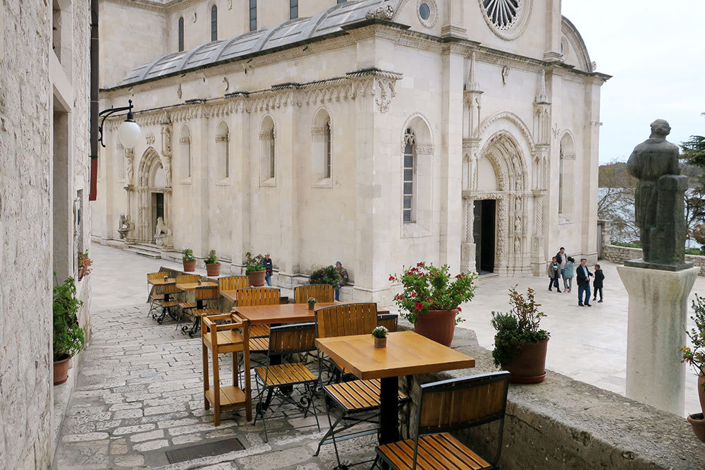 Patio seating at Pelegrini overlooking the Cathedral of St. James in Šibenik, Croatia