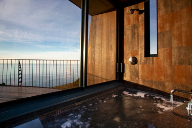 The bath of the Pacific Suite at Post Ranch Inn in Big Sur, California